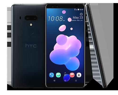 HTC U12+ framside og bakside.
