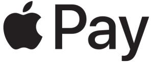 """Symbolet for Apple Pay: Sort silhuett av et eple som det er tatt en bit av. Det står """"Pay"""" ved siden av eplet."""
