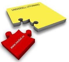 To puslespillbrikker som passer sammen. Det står MediaLT på den ene, og universell utforming på den andre .