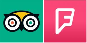 Ikon Tripadviser og Foursquare
