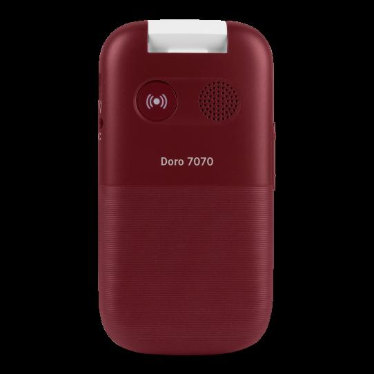 Rød Doro 7070 sammenklappet, med fysisk trygghetsknapp på baksiden.