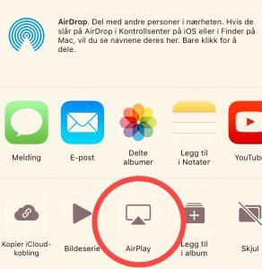 Skjermdump av valgene for deling i appen Bilder, der knappen AirPlay er utringet.