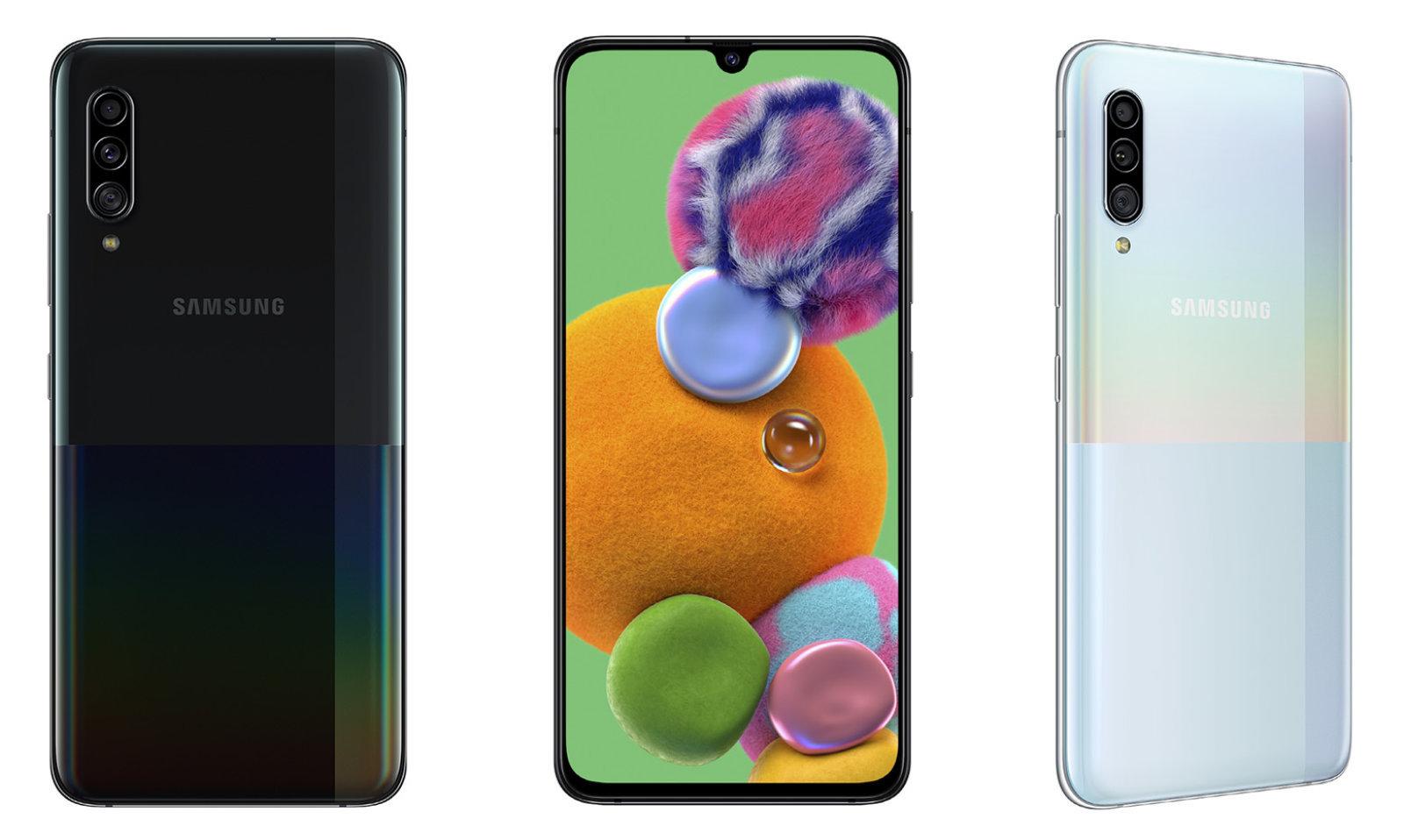 Samsung front og bakside i sort og hvit variant.