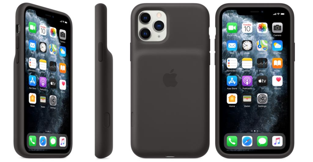 Sort batterideksel på en iPhone. Dekselen har en liten uthevning for batterirommet, og en åpning for kameralinsene.